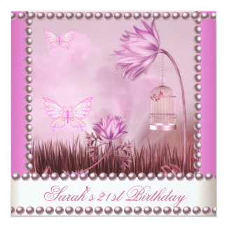 21st Birthday Party Butterfly Pink White Flowers 2 Card
