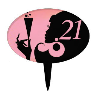 21st Birthday Party Cocktail Girl - pink Cake Topper