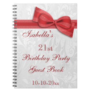 21st Birthday Party Damask and Bow Spiral Notebook