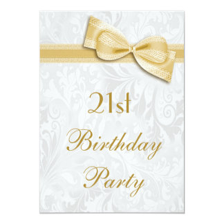 21st Birthday Party Damask and Faux Bow 5x7 Paper Invitation Card