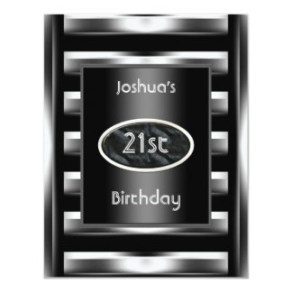 "21st Birthday Party Elegant Black Metal Men 3 4.25"" X 5.5"" Invitation Card"