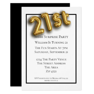 21st Birthday Party Faux 3d Gold Balloon Font Invitation