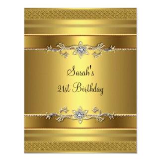 21st Birthday Party Gold Diamond Jewel 4.25x5.5 Paper Invitation Card
