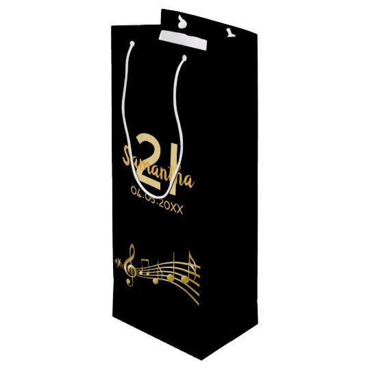 21st Birthday Party Gold Music Notes Elegant Black Wine Gift Bag