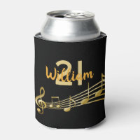 21st birthday party gold music notes on black can cooler