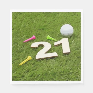 21st Birthday Party Golfer Golf ball and tee Napkins