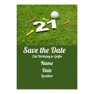 21st Birthday Party Golfer Golf ball  Invitation
