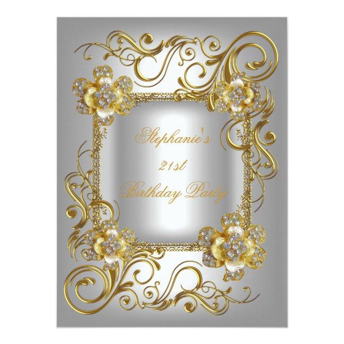 21st Birthday Party Grey Silver Gold Diamond 3 Card