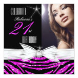 21st Birthday Party Hot Pink 21 Zebra Photo 3 Invitation