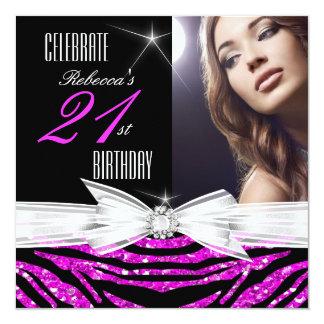 21st Birthday Party Hot Pink 21 Zebra Photo 3 Invitation