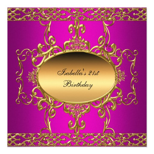 21st Birthday Party Hot Pink Gold Flourish