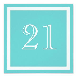 """21st Birthday Party Invitation - Aqua 5.25"""" Square Invitation Card"""