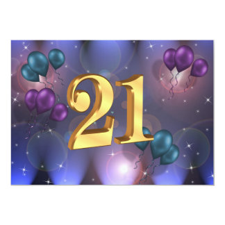21st Birthday party invitation balloons abstract