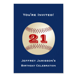 21st Birthday Party Invitation Baseball
