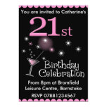 "21st Birthday Party Invitation - Cocktail Glass 5"" X 7"" Invitation Card"