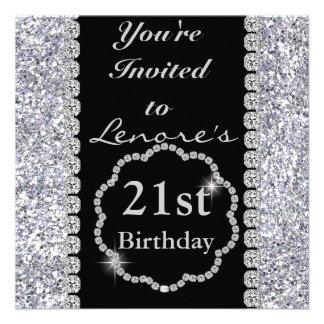 21st Birthday Party Invitation DIAMONDS SPARKLES