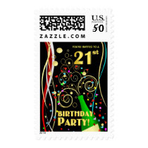 21st Birthday Party Invitation Postage Stamps