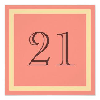 """21st Birthday Party Invitation - Salmon Coral 5.25"""" Square Invitation Card"""