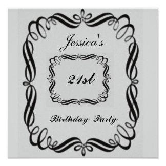 21st  Birthday Party Invitation  Silver Black
