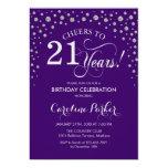 21st Birthday Party Invitation - Silver Purple