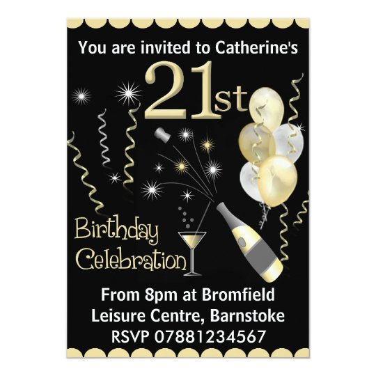 21st Birthday Party Invitations Black Gold Zazzlecom