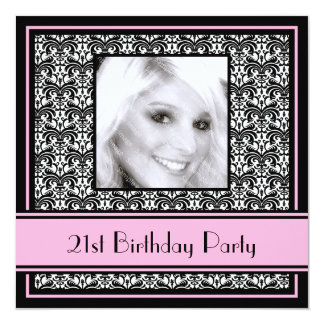 21st Birthday Party Invitations Damask Pink