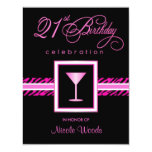 21st Birthday Party Invitations - Hot Pink Zebra