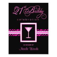 21st birthday invitations announcements zazzle 21st birthday party invitations hot pink zebra filmwisefo