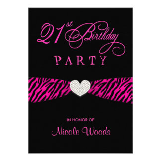 21st Birthday Party Invitations - Hot Pink Zebra