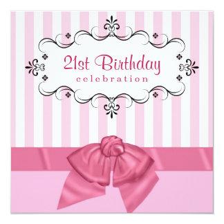 "21st Birthday Party Invitations - Pink & White 5.25"" Square Invitation Card"