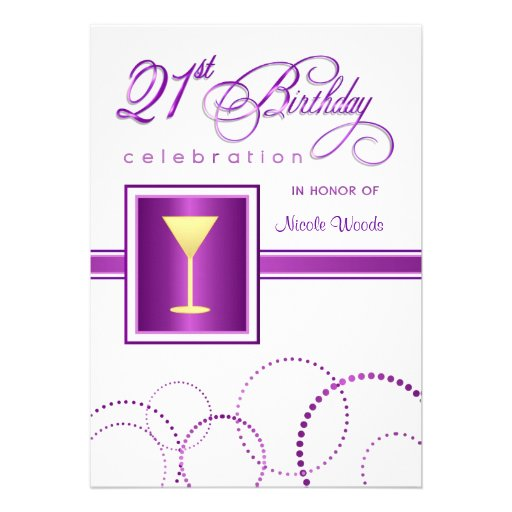 21st Birthday Party Invitations - with Monogram