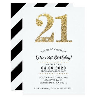 21ST BIRTHDAY PARTY INVITE modern gold glitter