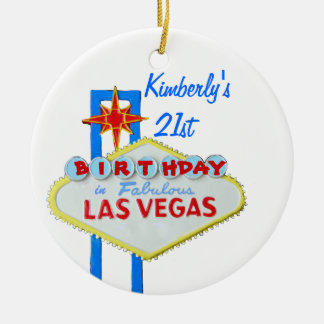 21st Birthday Party Las Vegas Ceramic Ornament
