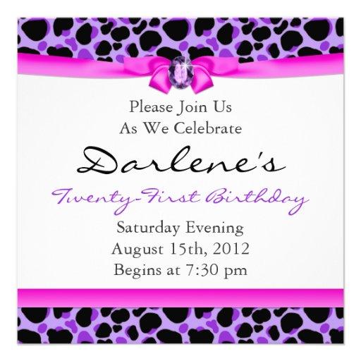 21st Birthday Party Leopard Funky Diva Purple Custom Invitations