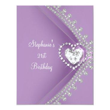 Valentines Themed 21st Birthday Party Lilac Heart Diamond Jewel Card