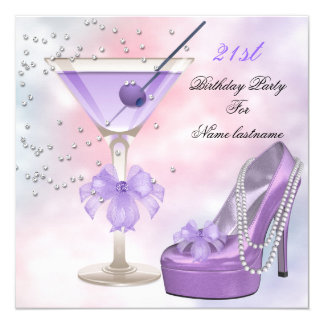 21st Birthday Party Lilac Martini Purple Pink Card