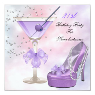 21st Birthday Party Lilac Martini Purple Pink Invitation