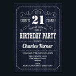 "21st Birthday Party - Navy Wood Pattern Invitation<br><div class=""desc"">21st Birthday Party Invitation.