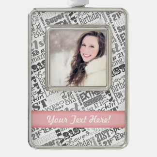 21st Birthday Party Personalized Gifts Silver Plated Framed Ornament