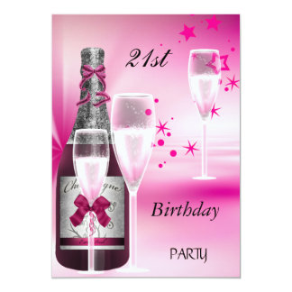 21st Birthday Party Pink Champagne 21 Card