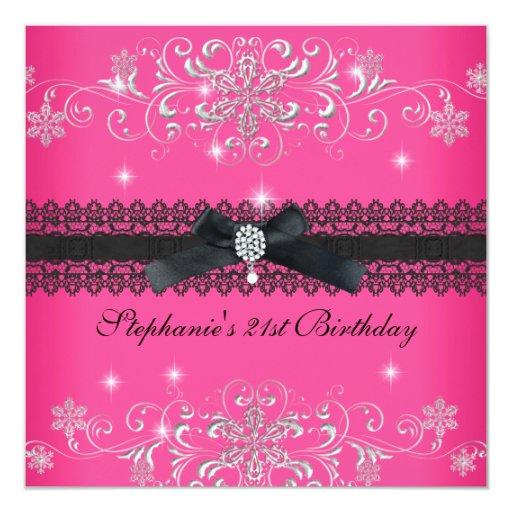 21st Birthday Party Pink Glitter Black Bow Jewel Custom Invite