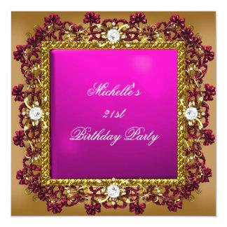 21st Birthday Party Pink Gold Diamond Jewel 3 Custom Invitations