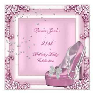 21st Birthday Party Pink High Heel Shoes Invitation