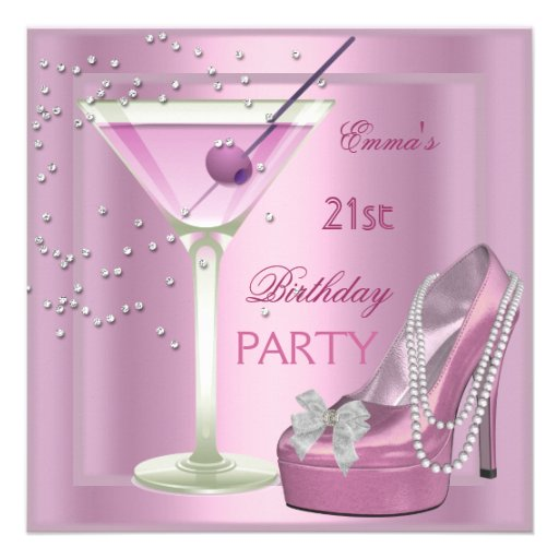 21st Birthday Party Pink Martini High Heel Shoes 5 25 Quot Square Invitation Card Zazzle