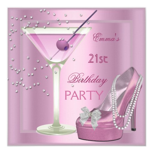 21st Birthday Party Pink Martini High Heel Shoes 5.25x5.25 Square Paper Invitation Card