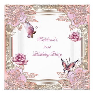 21st Birthday Party Pink Rose White Butterfly Custom Invitations