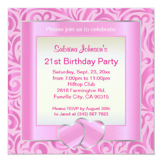 21st Birthday Party | Pink, Silver & White Verder Card