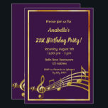 "21st birthday party purple and gold music notes invitation<br><div class=""desc"">Let's party and dance! A trendy,  modern 21st birthday party invitation card. A classic dark purple background,  with faux gold  frame and music notes,  golden colored letters. Templates for your party information.  Back: Purple color faux gold music notes.</div>"
