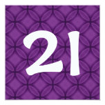 21st Birthday Party Purple Circles Template W1060 Announcements
