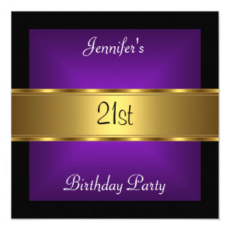 21st birthday Party Purple Gold Card